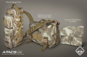 ATACS Features Our Hazard 4® Camo Bags: Plan-B, Defense Courier, and Launch-Pad