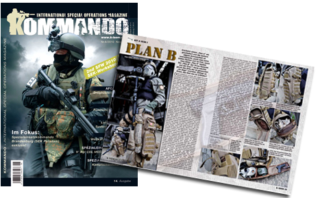 Kommando/Commando German Magazine article featuring Hazard 4 Tactical gear - Evac Sling Packs.